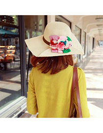 Tall Apricot Colorful Flower Decorated Design Straw Sun Hats