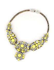 Baptism Yellow Flower Gemstone Decorated Design Alloy Fashion Necklaces