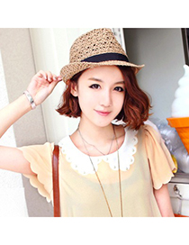 Childrens Coffee Hollow Out Curling Brim Design Straw Sun Hats