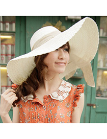 Collar White Wide Large Brim With Big Bowknot Design Straw Sun Hats