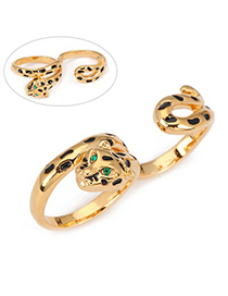 Noble Gold Color Leopard Decorated With Cz Diamond Double Finger Alloy Fashion Rings
