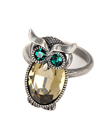 Military Antique Owl Gemstone Design Alloy Fashion Rings
