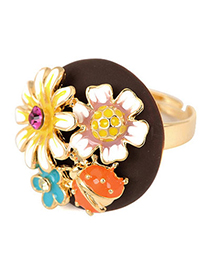 Handcrafte Multicolor Flower Ladybird Shape Alloy Fashion Rings