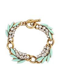 Dangle Light Blue Chain Decorated With Diamond Design Alloy Korean Fashion Bracelet