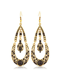 Wool Black Water Drop Shape With Diamond Design Alloy Korean Earrings