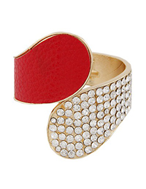 Active Red Diamond Inlaid Exaggerated Wide Design Alloy Fashion Bangles
