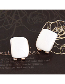 2012 White Candy Color Bend Simple Design Alloy Stud Earrings