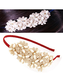 Maternity Claret-Red Sweet Daisy Flower Decorated Lace Hair band hair hoop