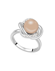 Hip Hop Antique Copper Simple Design Pearl Crystal Rings
