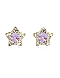 Turquoise Violet&Champagne Gold With Diamond Star Shape Design Austrian Crystal Crystal Earrings