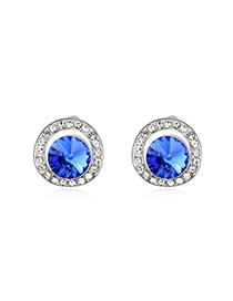 Exquisite Blue Round Shape With Diamond Design Austrian Crystal Crystal Earrings