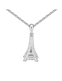 Gored White Eiffel Tower Pendant Design Austrian Crystal Crystal Necklaces