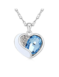 Embossed Navy Blue Heart Shape With Diamond Design Austrian Crystal Crystal Necklaces