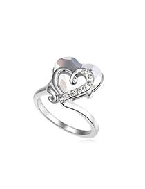 Energie White Heart Link Heart Design Austrian Crystal Crystal Rings