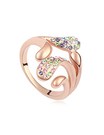 Retro Multicolor&Rose Gold Implied Meaning Stay For Love Austrian Crystal Crystal Rings