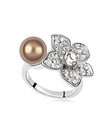Metallic Antique Copper Pearl Flower Decorated Design Pearl Crystal Rings