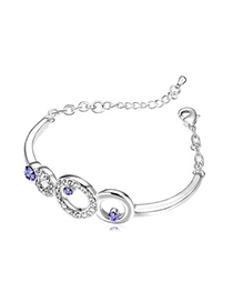 Asian Tanzanite Hollow Circle Decorated Austrian Crystal Crystal Bracelets