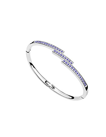 Barbie Tanzanite Diamond Decorated Thin Design Austrian Crystal Crystal Bracelets
