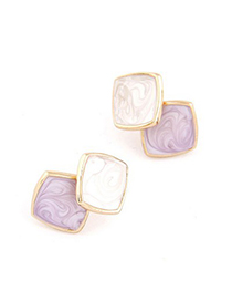 Diy Purple Square Shape Simple Design Alloy Stud Earrings