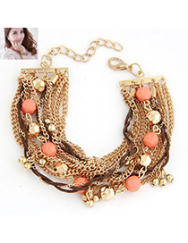 Funeral Orange Beads Decorated Multilayer Chain Design Alloy Korean Fashion Bracelet