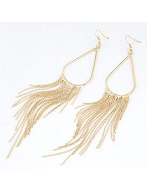 Lush Gold Color Metal Tassel Water Drop Shape Design Alloy Korean Earrings