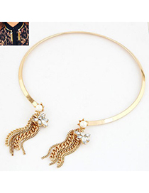 Photograph Gold Color Smooth Surface Metal Tassel Open Design Alloy Chokers