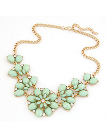Energie Blue Metal Inlaid Gemstone Flower Design Alloy Bib Necklaces