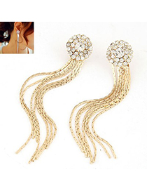 Reflective Gold Color Personality Long Tassel Design