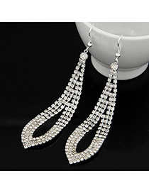 Magnetic Silver Color Three Row Drill Tear Shape Design