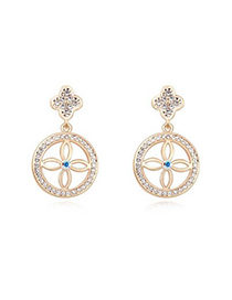 Invitation White&Champagne Gold Four-Leaf Clover Decorated Austrian crystal Crystal Earrings Reviews