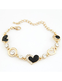 Roll Gold Color Metal Heart Shape And Hollow Out Circle Decorated