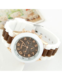 Plain Coffee Candy Color Casual Design Alloy Ladies Watches