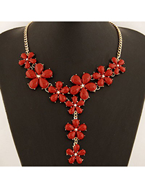 Plaid Red Five Petal Flower Gemstone Long Drop Design Alloy Bib Necklaces