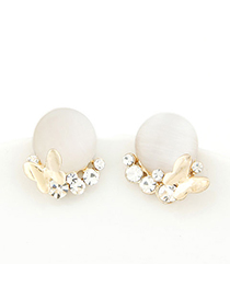 Outlook white opals decorated design alloy Stud Earrings