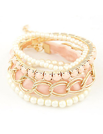 22K pink metal chains decorated multilayer design alloy Korean Fashion Bracelet