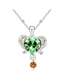 Chiropract olive green diamond decorated aries design crystal Crystal Necklaces