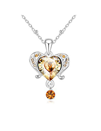 Doggie gold color diamond decorated aries design crystal Crystal Necklaces