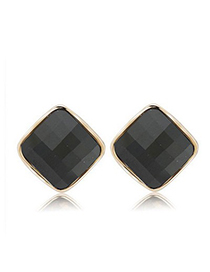 Lush black diamond decorated square shape design alloy Stud Earrings