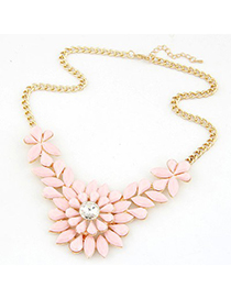 Fake pink gemstone decorated flower design short style