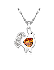 Dickie yellow diamond decorated chicken pendant design alloy Crystal Necklaces