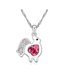 Homecoming plum red diamond decorated chicken pendant design alloy Crystal Necklaces