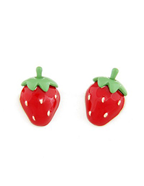 Electric red sweet strawberry shape design alloy Stud Earrings