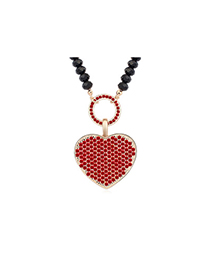 Single lightred&Champagnegold diamonddecoratedheart-shapedpendantdesign alloy Crystal Necklaces