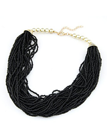 Arrowhead black beads weave design alloy Beaded Necklaces