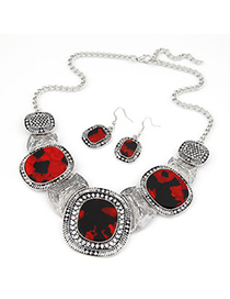 Waltons claret-red gemstone decorated round design alloy Jewelry Sets