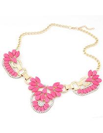 Folding plum red gemstone decorated flower design alloy Korean Necklaces