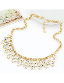 Customized white CZ diamond decorated Multi-level design alloy Fashion Necklaces
