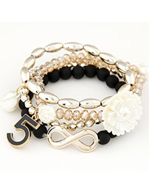 Small black flower decorated multilayer design alloy Korean Fashion Bracelet