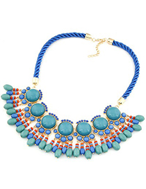 Digital light blue gemstone decorated Fan-shaped tassel design alloy Fashion Necklaces