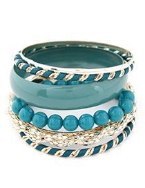 Homemade blue beads decorated multi-level design alloy Fashion Bangles